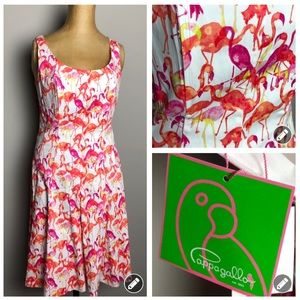 Cappagallo flamingo Lilly Pulitzer style dress